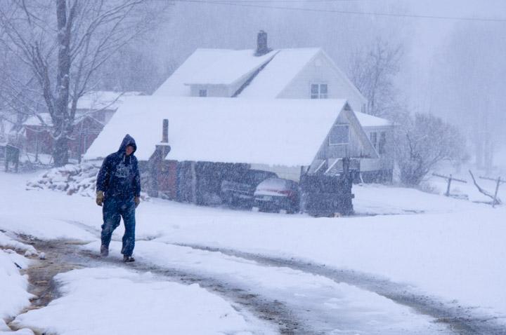 ike walking snow