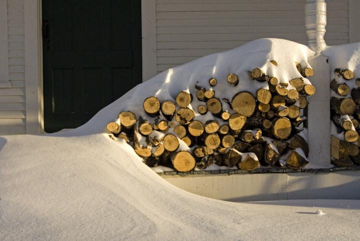 winter woodpile