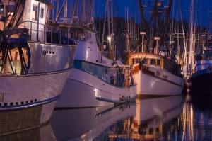 Newport harbor at twilight, Oregon