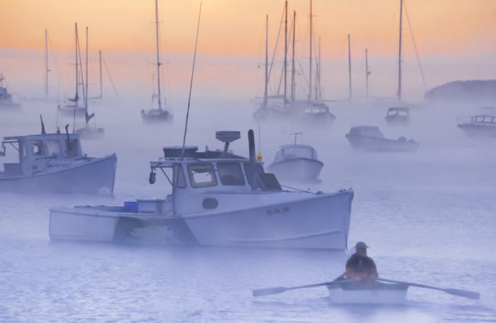 rowing lobsterman, Rockport, ME